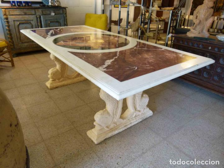 Antigüedades: MESA DE MARMOL CON INCUSTRACIONES - Foto 4 - 214447812