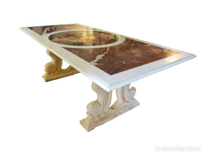 MESA DE MARMOL CON INCUSTRACIONES (Antigüedades - Muebles Antiguos - Mesas Antiguas)
