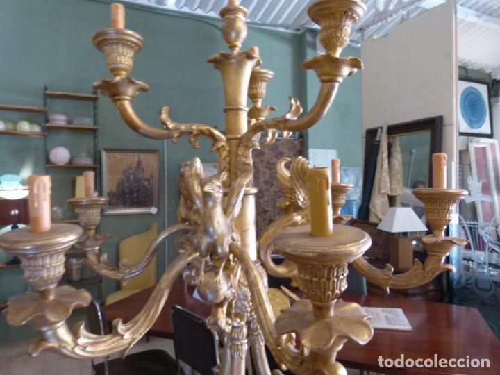 Antigüedades: CANDELABRO DE MADERA TALLADA SIGLO XIX - Foto 4 - 214448106