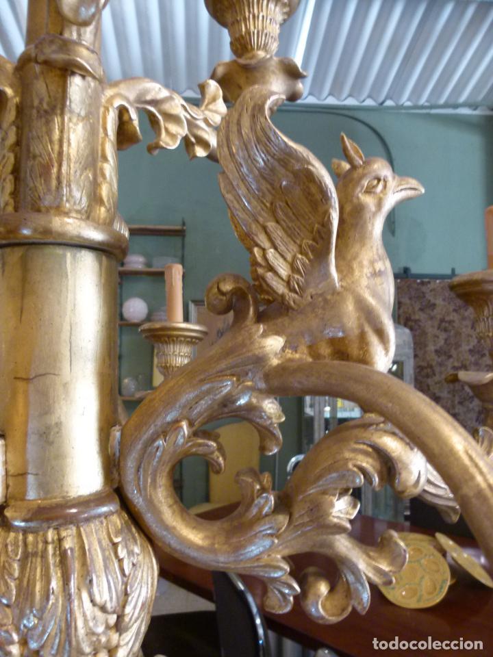 Antigüedades: CANDELABRO DE MADERA TALLADA SIGLO XIX - Foto 5 - 214448106
