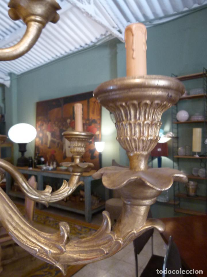 Antigüedades: CANDELABRO DE MADERA TALLADA SIGLO XIX - Foto 7 - 214448106
