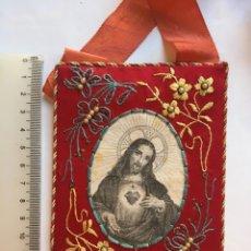 Antigüedades: ESCAPULARIO PROCESIONAR. SAGRADO CORAZÓN DE JESÚS / SGRDO. CORAZON DE MARÍA.. Lote 214495642