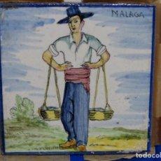 Antigüedades: ANTIGUO AZULEJO SIMBOLIZANDO LA PROVINCIA DE MALAGA.. Lote 214500310