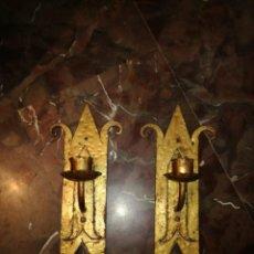 Antigüedades: PAREJA DE APLIQUES DE LUZ EN FORJA. Lote 214504046