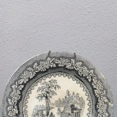Antigüedades: PLATO SIGLO XIX DE LA REAL FÁBRICA DE SARGADELOS, SERIE VISTAS IMAGINARIAS, ROMÁNTICAS COLOR NEGRO.. Lote 214546045