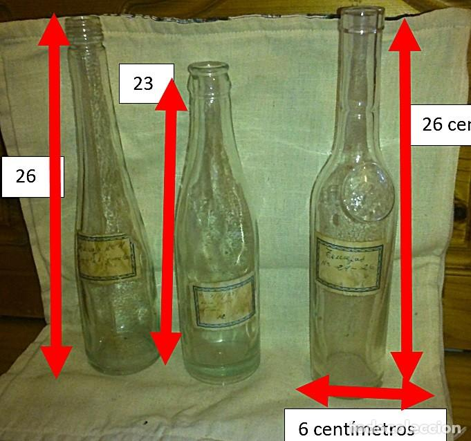 TRES BOTELLAS NOURRY CON ETIQUETAS ANTIGUAS , PARA LICORES O PRODUCCIÓN DE MEDICINAS DE BOTICARIO. (Antigüedades - Cristal y Vidrio - Farmacia )