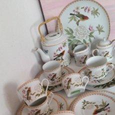 Antigüedades: PRECIOSO JUEGO CAFE OU TE PINTADO A MANO SELADO CHINESE GARDEN DESIN ORIGINAL. Lote 214575720
