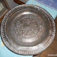 Antigüedades: GRAN PLATO PETITORIO LIMOSNERO DINAN NUREMBERG SIGLO 16 GRAN ESTADO CONSERVACION CON LEYENDA. Lote 214589793