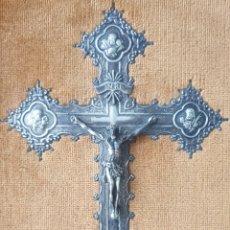 Antigüedades: CRUCIFICADO - CRUZ CON CRISTO Y AVANGELISTAS.ALPACA.. Lote 214642130