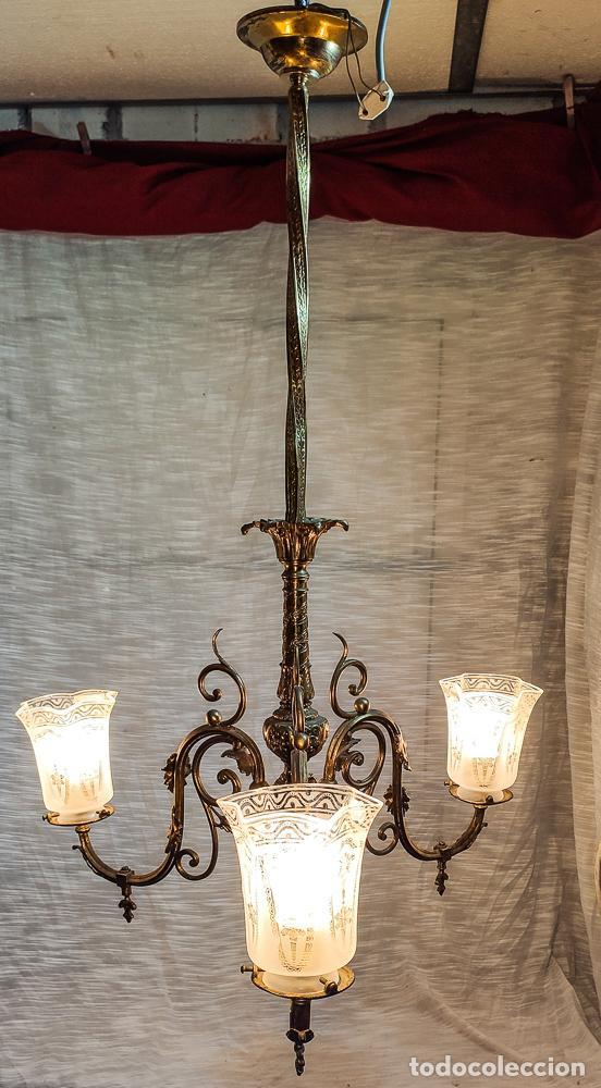 Antigüedades: PRECIOSA LAMPARA DE GAS ELECTRIFICADA Y RESTAURADA, TRES LUCES - Foto 7 - 214745567