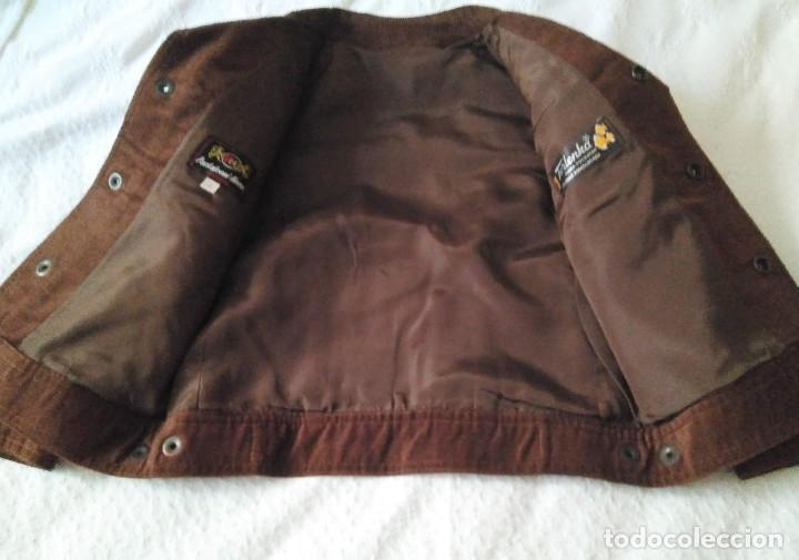 Antigüedades: Cazadora infantil pana marrón, forrada etiqueta Pantaleoni Hnas.Talla 3 sin uso años 1960-70 - Foto 2 - 214768345