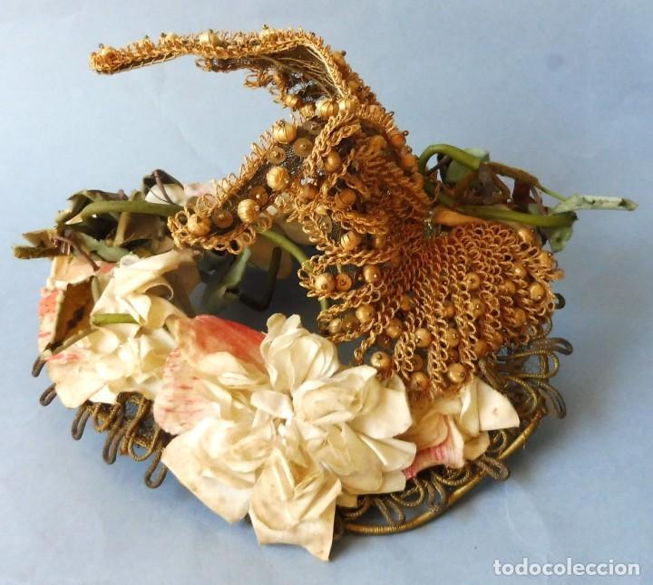 ANTIGUO SOMBRERO - TOCADO PARA MUJER S.XIX (Antigüedades - Moda - Sombreros Antiguos)