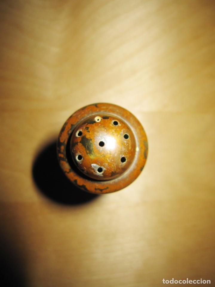 Antigüedades: Antigua Campana de mano dorada y verde - Foto 6 - 214834118