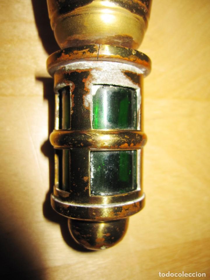 Antigüedades: Antigua Campana de mano dorada y verde - Foto 11 - 214834118