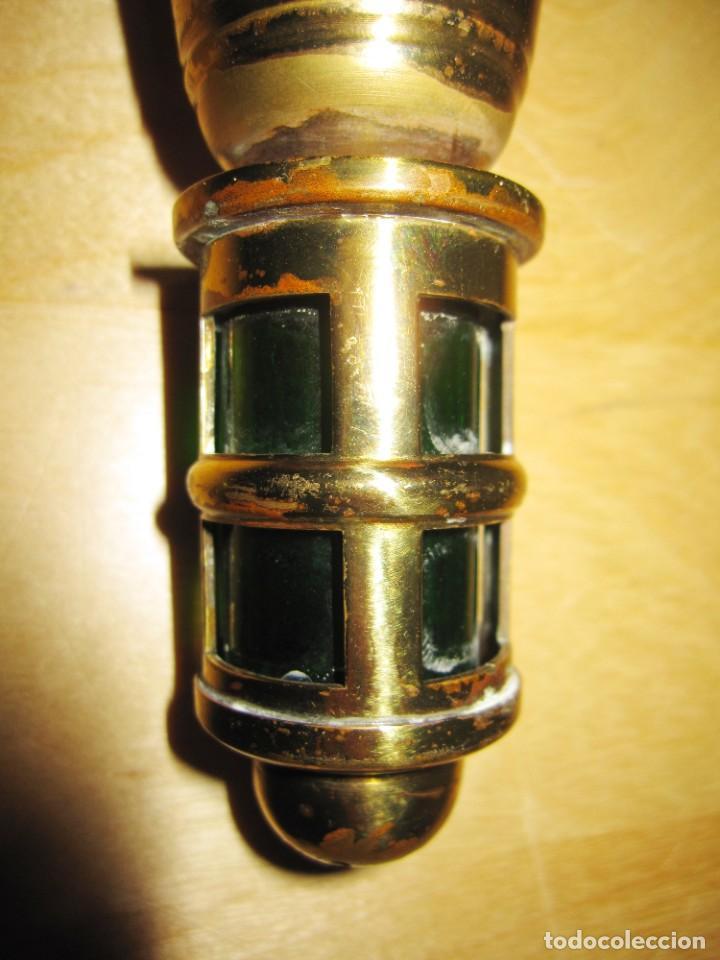 Antigüedades: Antigua Campana de mano dorada y verde - Foto 12 - 214834118