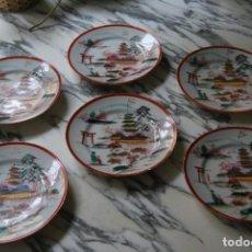 Antigüedades: SEIS PLATOS DE PORCELANA - JAPÓN. Lote 214879561