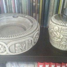 Antigüedades: ANTIGUO Y PRECIOSO CENICERO Y PORTAMECHERO DE PIEDRA TALLADO ARTESANAL AÑOS 70 - 80. Lote 214910407