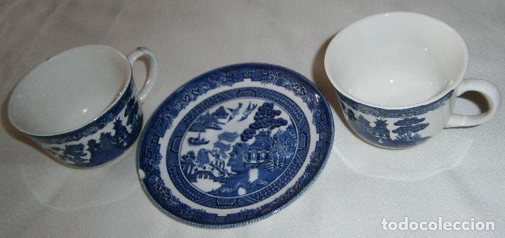 DOS TAZAS Y UN PLATO INGLESAS (Antigüedades - Porcelanas y Cerámicas - Inglesa, Bristol y Otros)