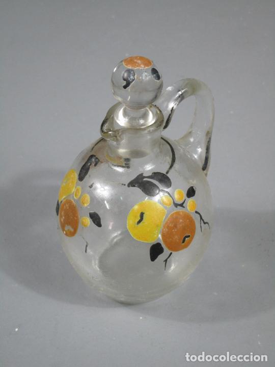 Antigüedades: Aceiteras, Vinagreras con 2 Tapones - Cristal catalán - Pintado a Mano - Cerámica Policromada - Foto 9 - 214926520