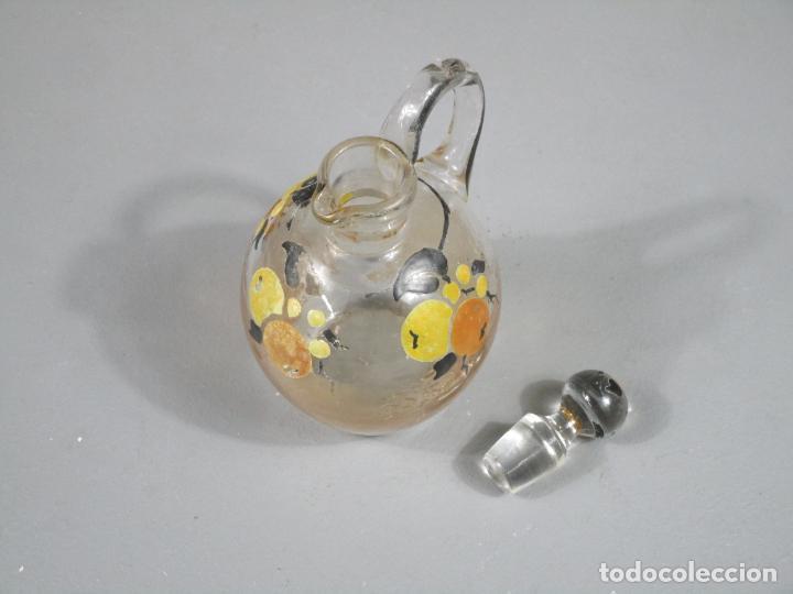 Antigüedades: Aceiteras, Vinagreras con 2 Tapones - Cristal catalán - Pintado a Mano - Cerámica Policromada - Foto 12 - 214926520