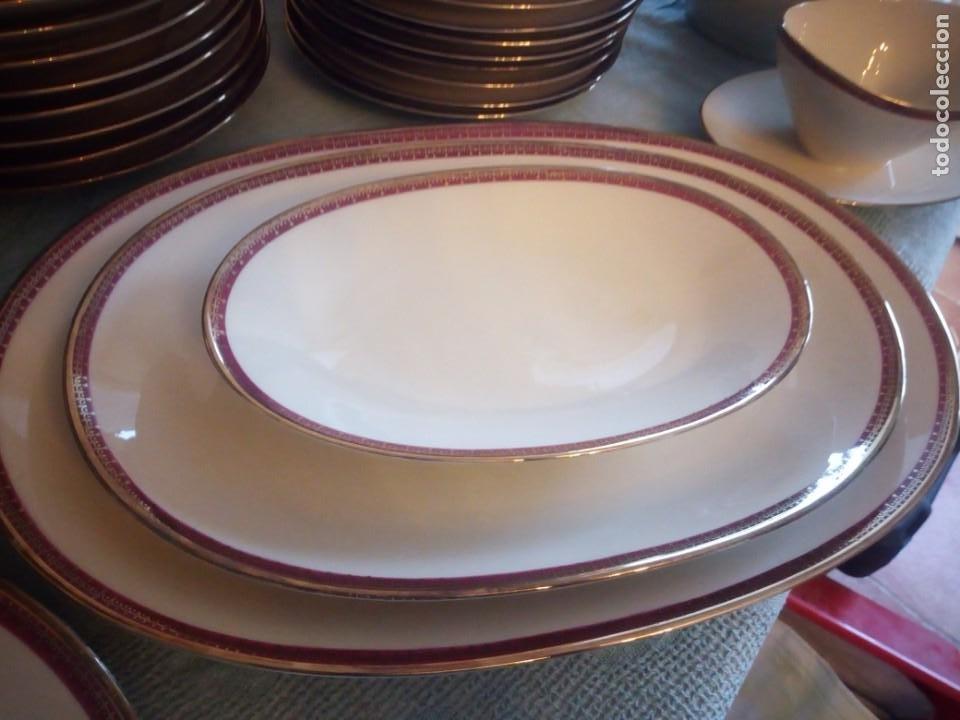 Antigüedades: Preciosa vajilla de 43 piezas,porcelana bareuther waldsassen bavaria,borde granate y dorado. - Foto 8 - 214939406