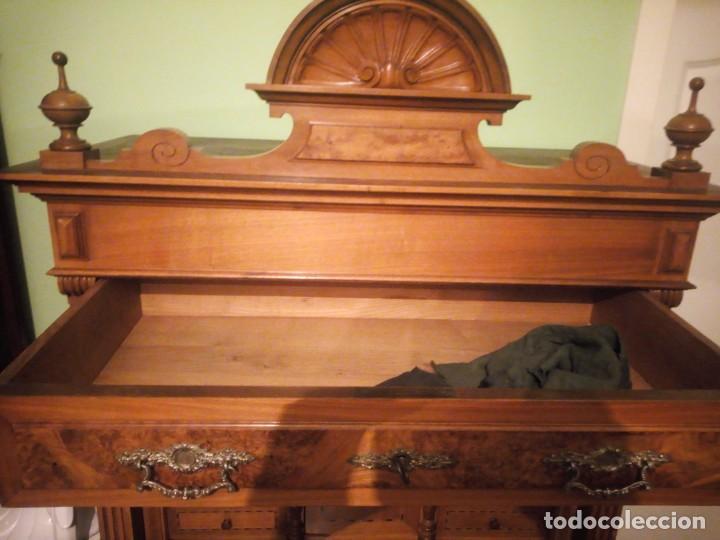 Antigüedades: Antiguo secretaire Luis xv e madera noble macizo.con tallas y decoración de madera de raiz.siglo xix - Foto 17 - 214950526