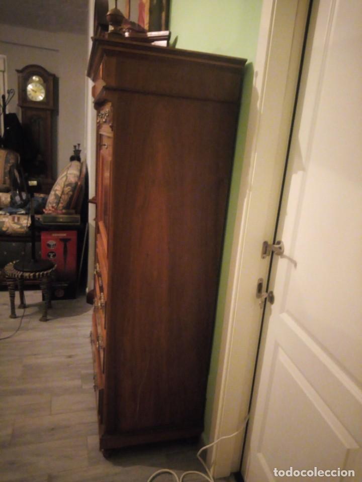 Antigüedades: Antiguo secretaire Luis xv e madera noble macizo.con tallas y decoración de madera de raiz.siglo xix - Foto 24 - 214950526