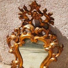 Antigüedades: PRECIOSA CORNUCÓPIA DE MADERA PAN DE ORO, ESPEJO ORIGINAL, 90X55CM.. Lote 214981847