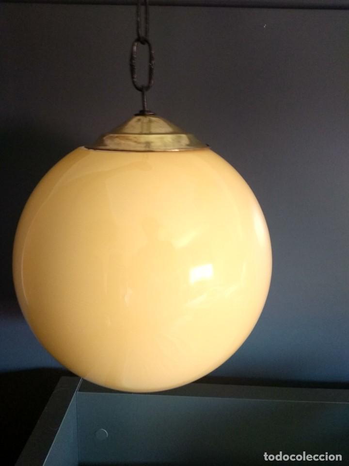 Antigüedades: Lampara de opalina amarilla, modernista, vintage - Foto 4 - 215011280