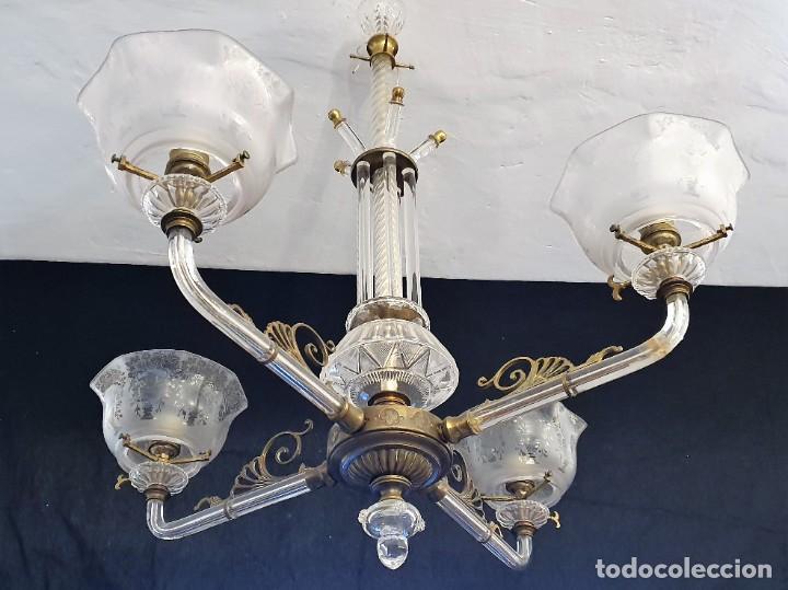 Antigüedades: ANTIGUA LAMPARA DE CRISTAL - Foto 2 - 215018603