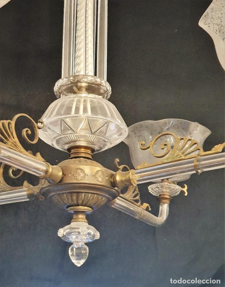 Antigüedades: ANTIGUA LAMPARA DE CRISTAL - Foto 3 - 215018603