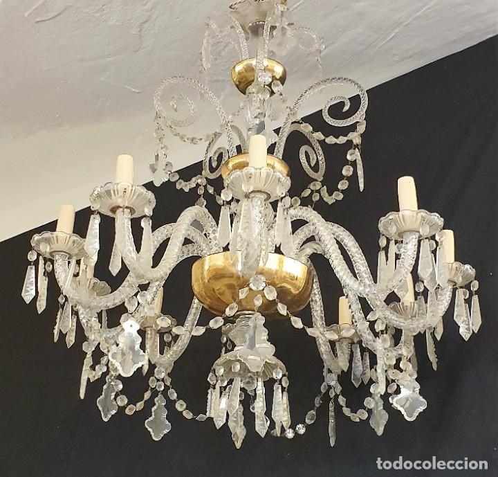 ANTIGUA LAMPARA CRISTAL ARAÑA (Antigüedades - Iluminación - Lámparas Antiguas)