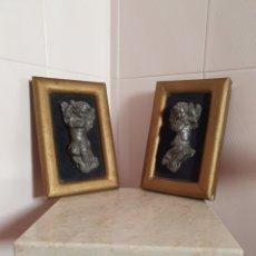 Antigüedades: ANTIGUA Y BONITA PAREJA DE ANGELITOS ENMARCADOS. Lote 124547054