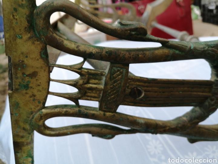 Antigüedades: Base de mesa en bronce- lira - Foto 3 - 215116263