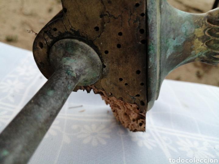 Antigüedades: Base de mesa en bronce- lira - Foto 13 - 215116263