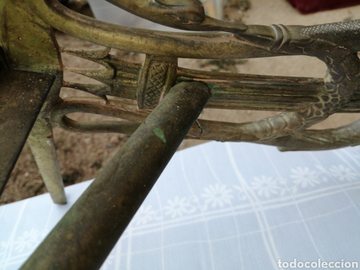 Antigüedades: Base de mesa en bronce- lira - Foto 15 - 215116263