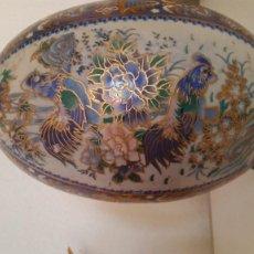 Antigüedades: EXPLENDIDO Y GRANDE GUEBO DE COLECION DE PORCELANA HECO Y PINTADO A MANO SELADO MADE CHINA. Lote 215121295