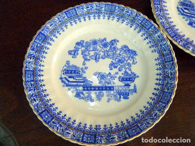 SEIS PLATOS PORCELANA SANTA CLARA VIGO MAH. FILO DORADO (Antigüedades - Porcelanas y Cerámicas - Santa Clara)