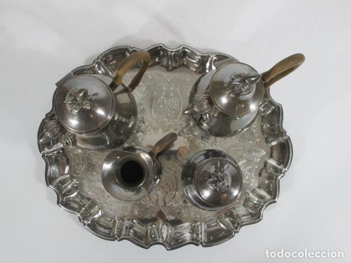 Antigüedades: Antiguo Juego de Café, Te en Baño de Plata - Alpaca Plateada - Mendiola España - Foto 2 - 215260542