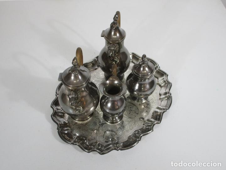 Antigüedades: Antiguo Juego de Café, Te en Baño de Plata - Alpaca Plateada - Mendiola España - Foto 36 - 215260542