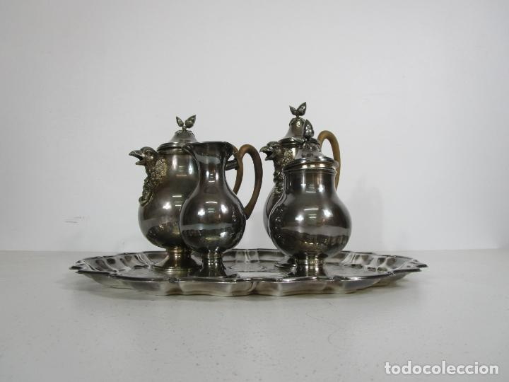Antigüedades: Antiguo Juego de Café, Te en Baño de Plata - Alpaca Plateada - Mendiola España - Foto 37 - 215260542
