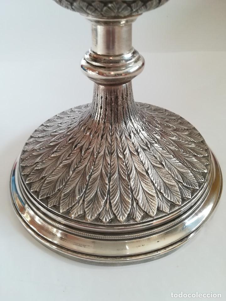 Antigüedades: Copon en plata de ley labrada y cincelada mediados Siglo XX , Alt. 27 cms. Peso 733 grs. - Foto 3 - 215291587
