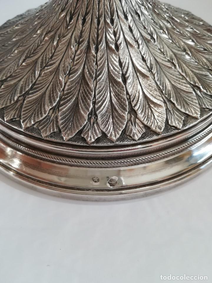 Antigüedades: Copon en plata de ley labrada y cincelada mediados Siglo XX , Alt. 27 cms. Peso 733 grs. - Foto 8 - 215291587