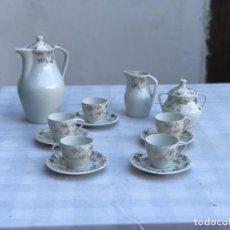 Antigüedades: ANTIGUO JUEGO DE CAFÉ PORCELANA SANTA CLARA- 5 SERVICIOS. Lote 215306413