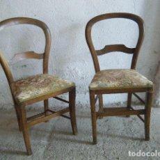 Antigüedades: LOTE DOS SILLAS ISABELINAS NOGAL. Lote 215369707