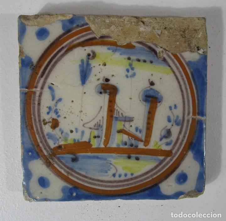ANTIGUO AZULEJO CATALÁN - RAJOLA CATALANA - S. XVIII (Antigüedades - Porcelanas y Cerámicas - Catalana)