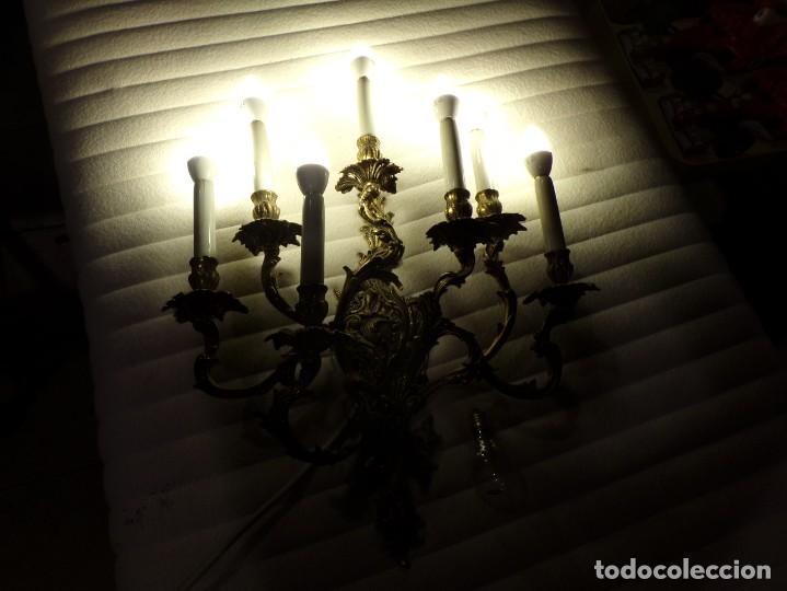 GRAN APLIQUE PALACIEGO 7 LUCES DE BRONCE FUNCIONANDO (Antigüedades - Iluminación - Apliques Antiguos)
