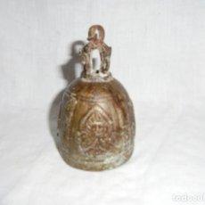 Antigüedades: ANTIGUA CAMPANA DE BRONCE DE LA INDIA/TIBET.LE FALTA EL BADAJO. Lote 215480942