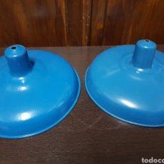 Antiguidades: LOTE 2 LAMPARAS INDUSTRIALES ESMALTADAS AZULES. Lote 215483847