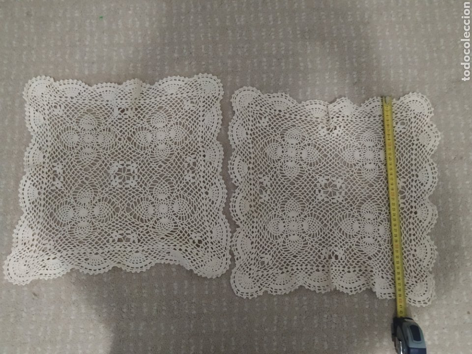 Antigüedades: Pareja de tapetes de croche - Foto 3 - 215484557